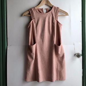 MONTEAU Light Baby Pink Suede Sleeveless Dress